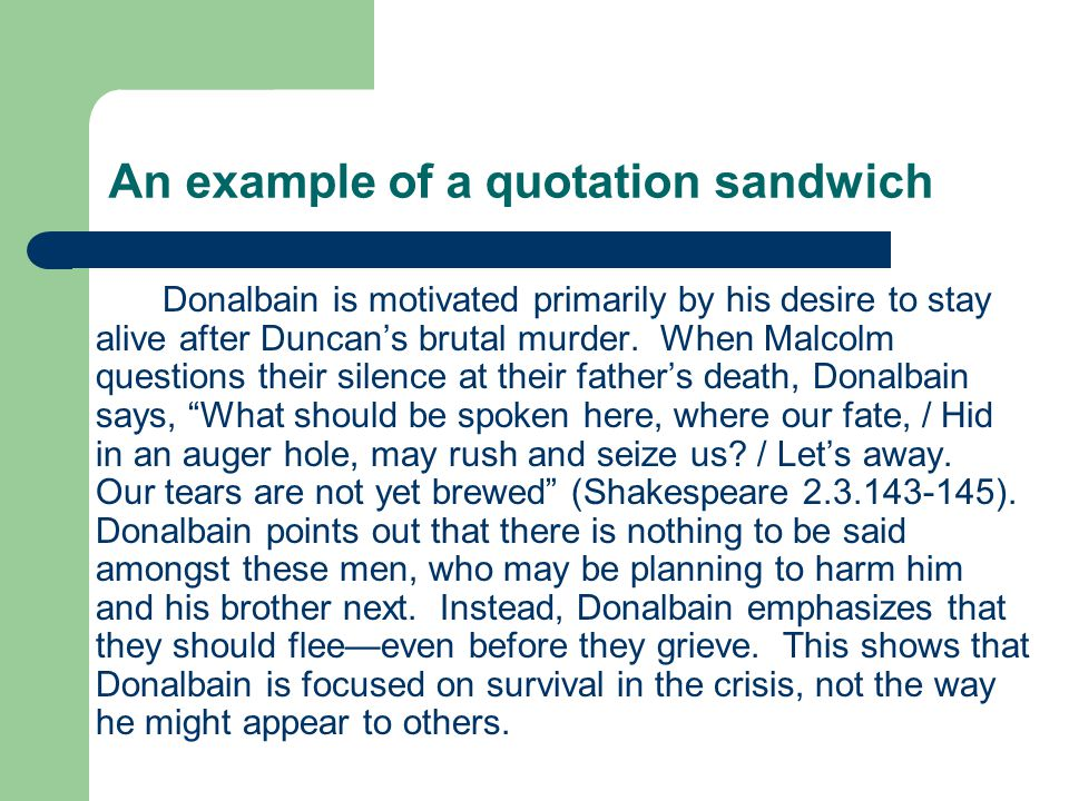 An example of a quotation sandwich