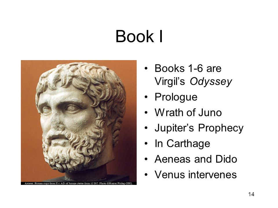 Book I Books 1-6 are Virgil's Odyssey Prologue Wrath of Juno