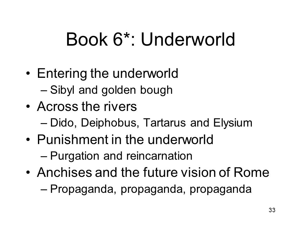 Book 6*: Underworld Entering the underworld Across the rivers