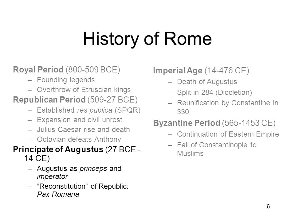 History of Rome Royal Period (800-509 BCE)
