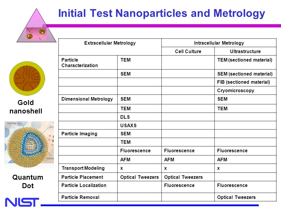 Initial Test Nanoparticles and Metrology