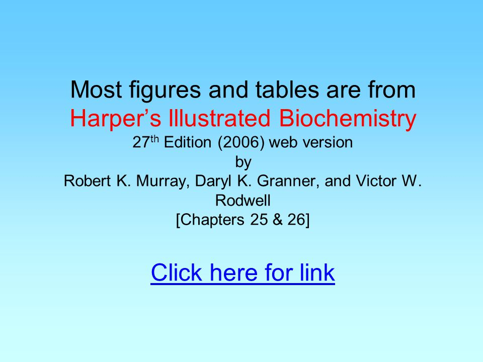 Most figures and tables are from Harper's Illustrated Biochemistry 27th Edition (2006) web version by Robert K.