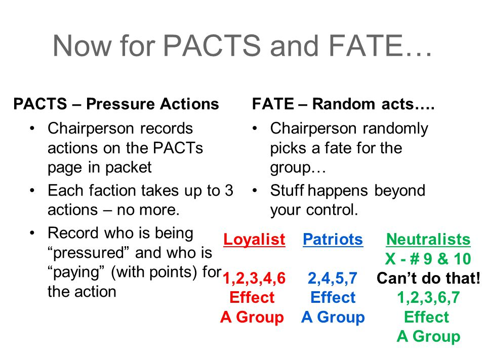 Now for PACTS and FATE… PACTS – Pressure Actions FATE – Random acts….