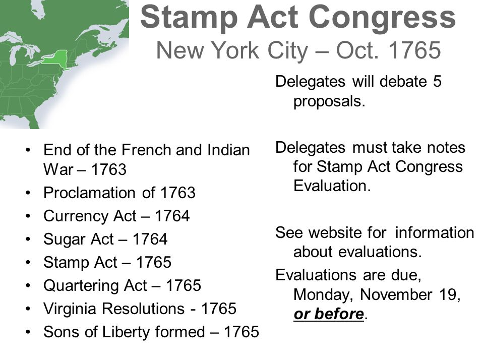 Stamp Act Congress New York City – Oct. 1765