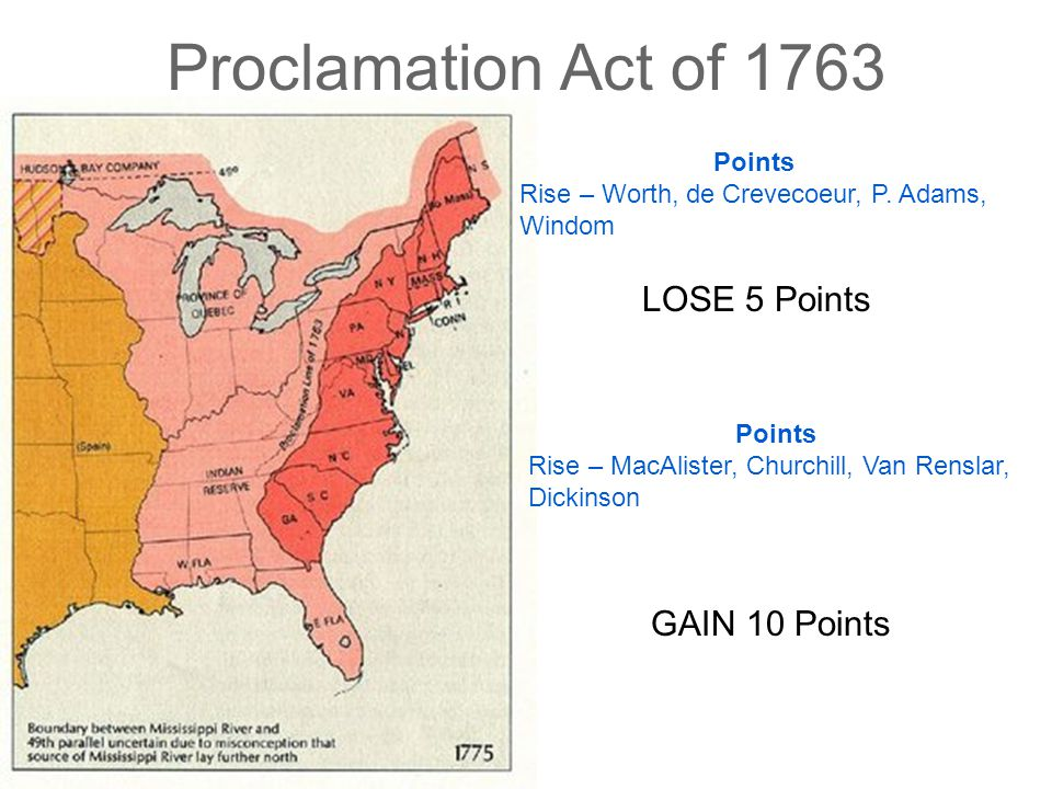 Proclamation Act of 1763 LOSE 5 Points GAIN 10 Points Points