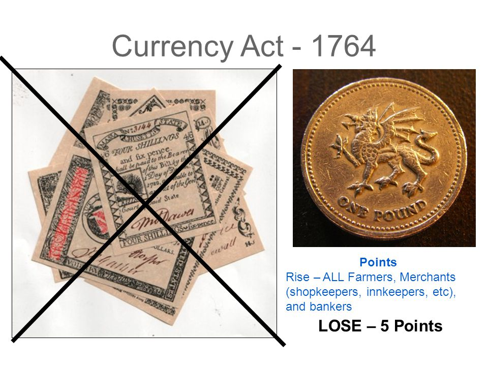 Currency Act - 1764 LOSE – 5 Points Points