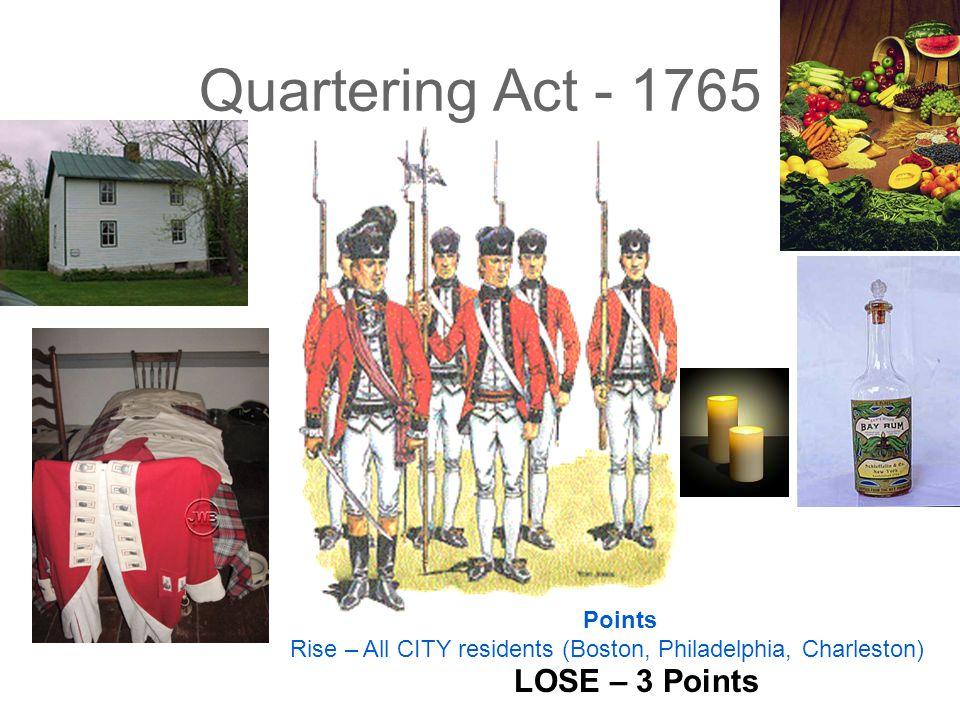 Quartering Act - 1765 LOSE – 3 Points Points