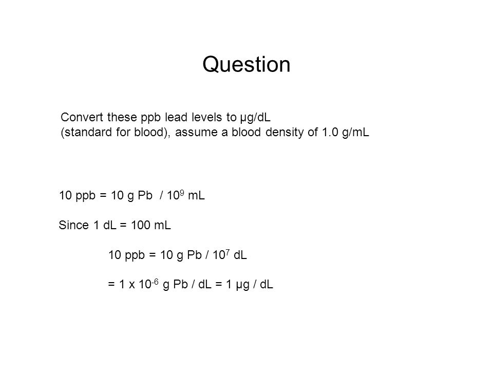 Question Convert these ppb lead levels to μg/dL (standard for blood), assume a blood density of 1.0 g/mL.
