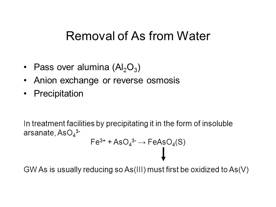 Removal of As from Water