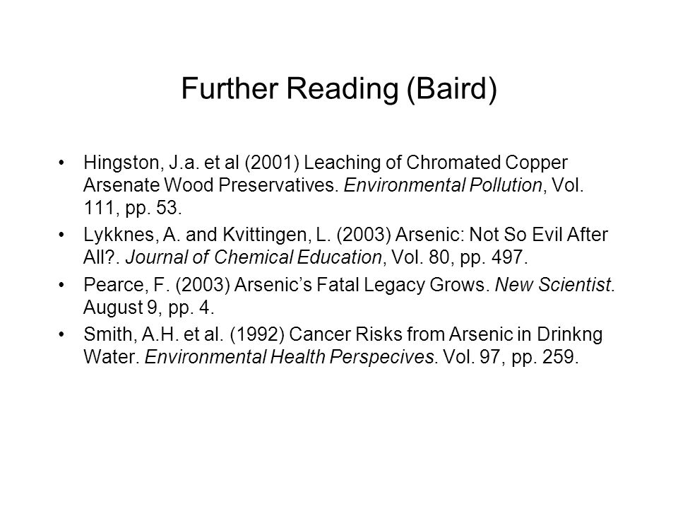 Further Reading (Baird)