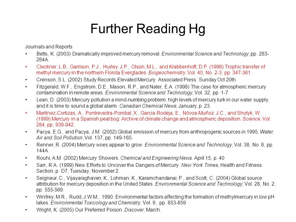 Further Reading Hg Journals and Reports