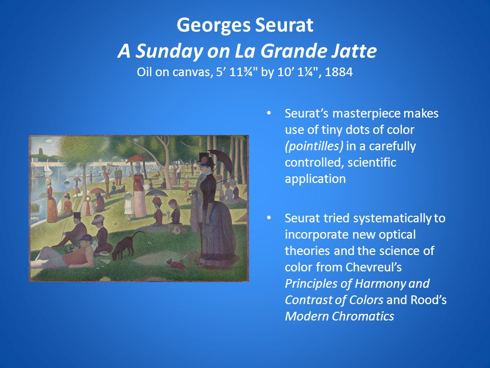 Georges Seurat A Sunday on La Grande Jatte Oil on canvas, 5' 11¾ by 10' 1¼ , 1884