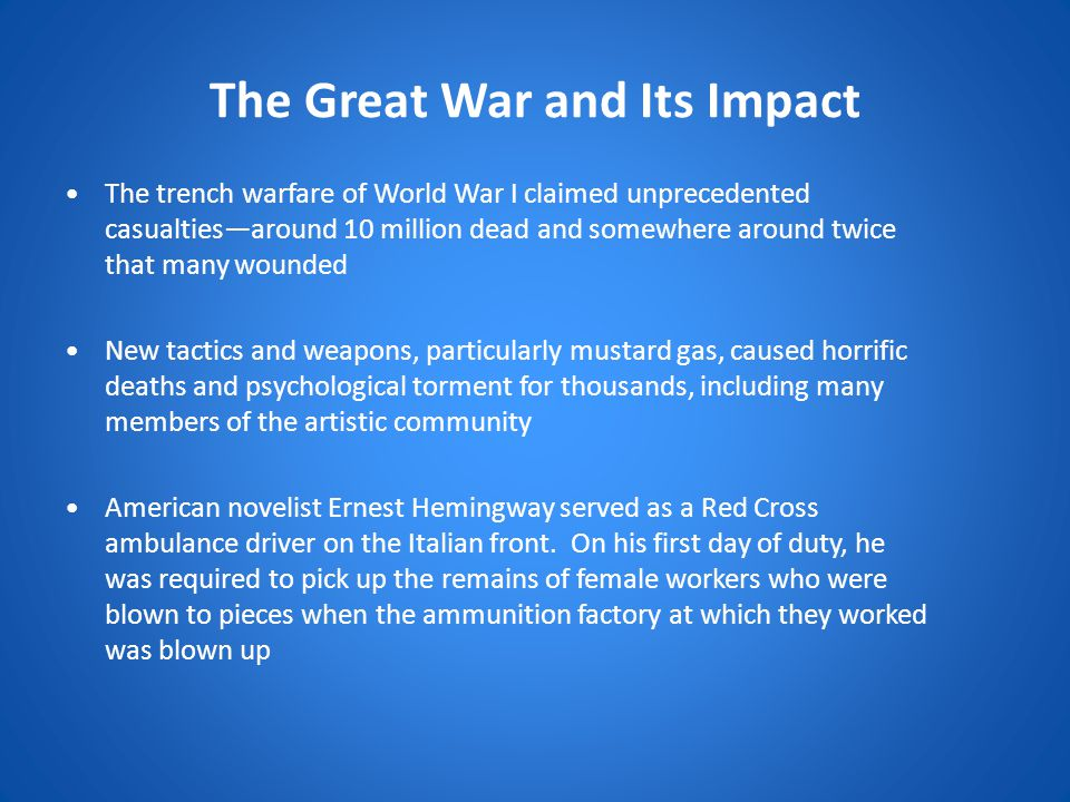 The Great War and Its Impact