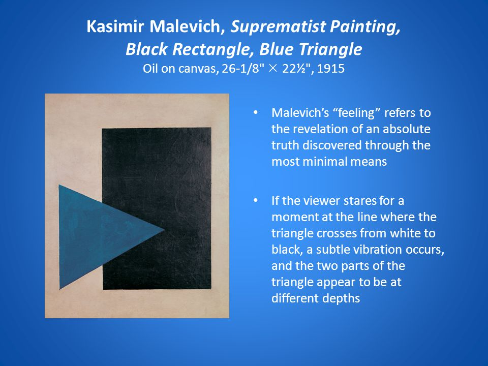 Kasimir Malevich, Suprematist Painting, Black Rectangle, Blue Triangle Oil on canvas, 26-1/8  22½ , 1915