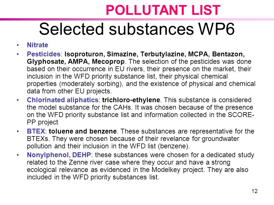 Selected substances WP6
