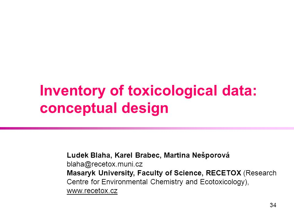 Inventory of toxicological data: conceptual design