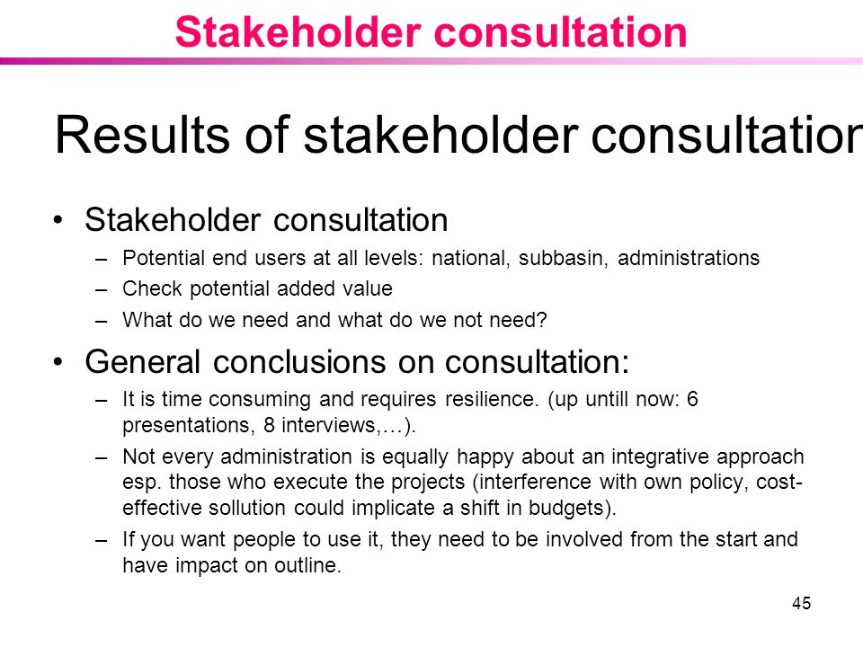 Results of stakeholder consultation