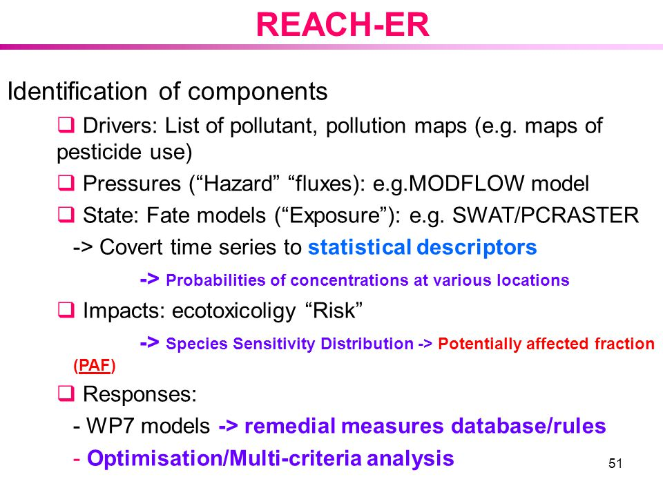 REACH-ER Identification of components