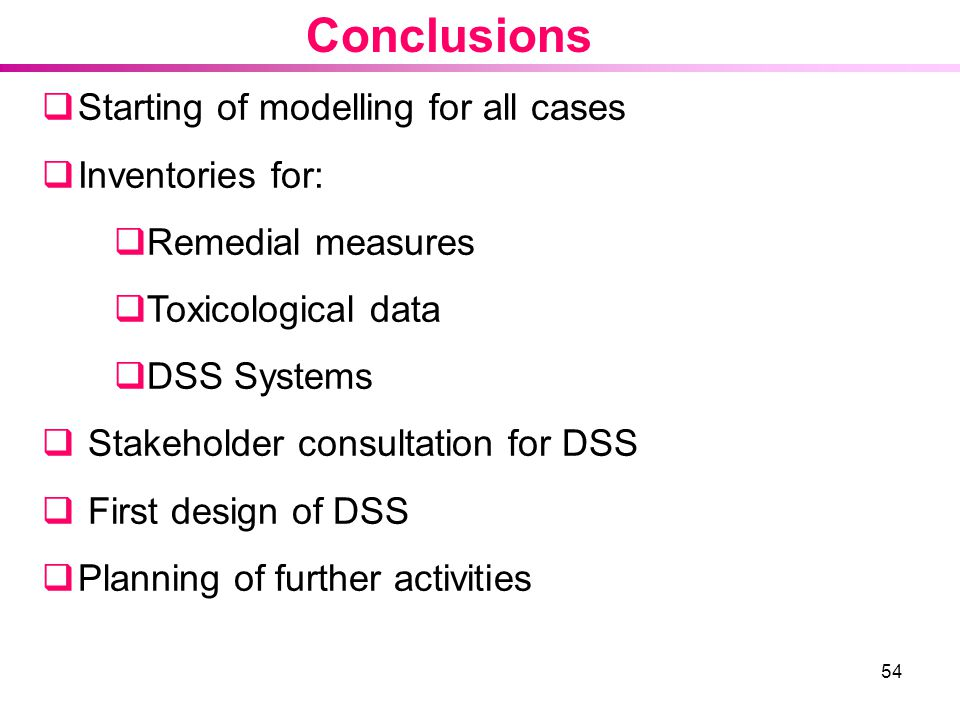 Conclusions Starting of modelling for all cases Inventories for: