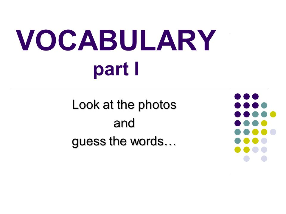 Look at the photos and guess the words…