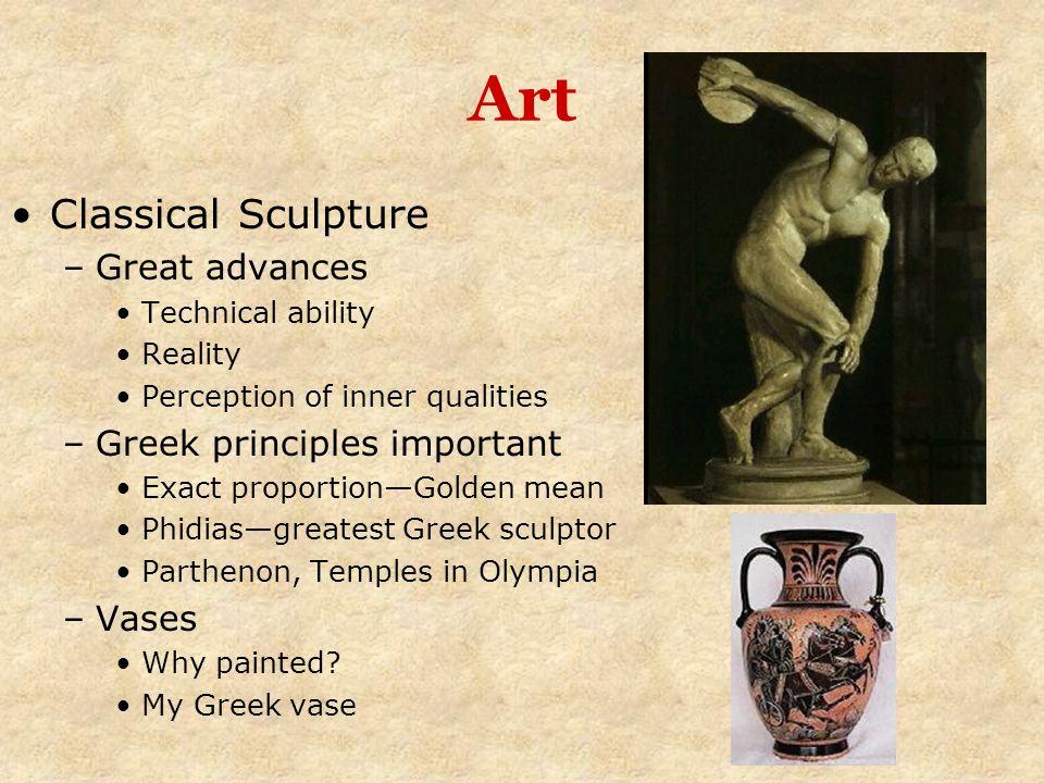 Art Classical Sculpture Great advances Greek principles important