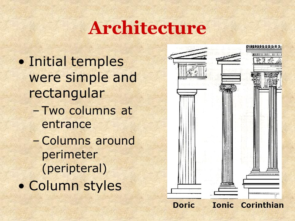 Architecture Initial temples were simple and rectangular Column styles