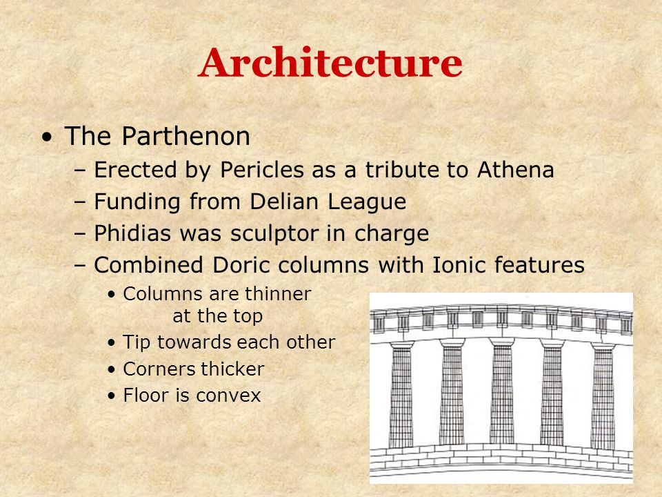 Architecture The Parthenon Erected by Pericles as a tribute to Athena