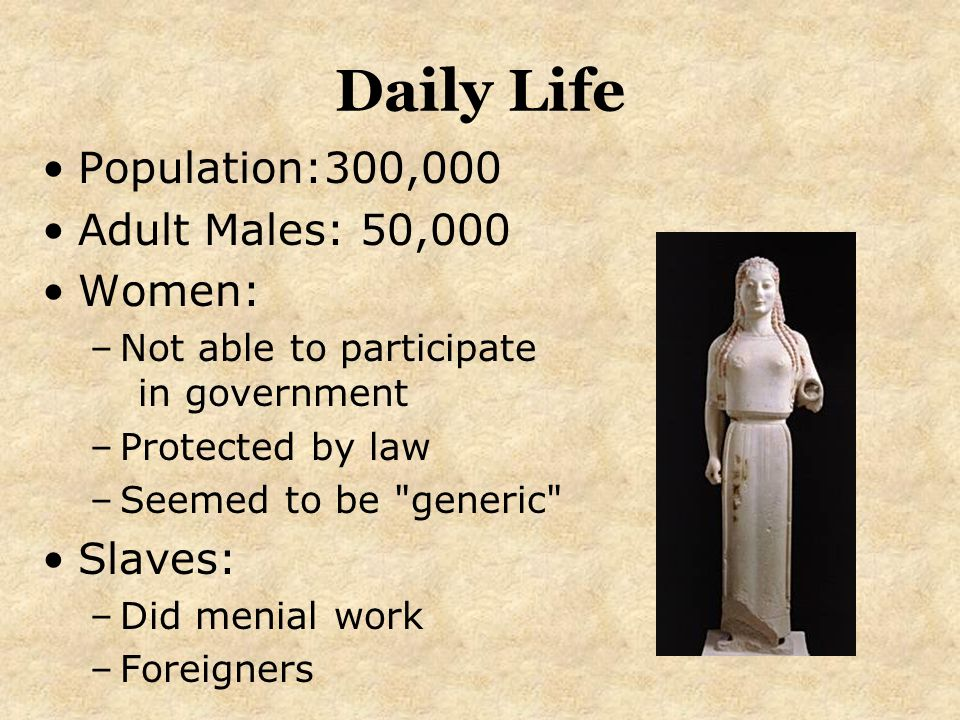 Daily Life Population:300,000 Adult Males: 50,000 Women: Slaves: