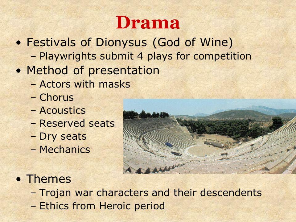 Drama Festivals of Dionysus (God of Wine) Method of presentation