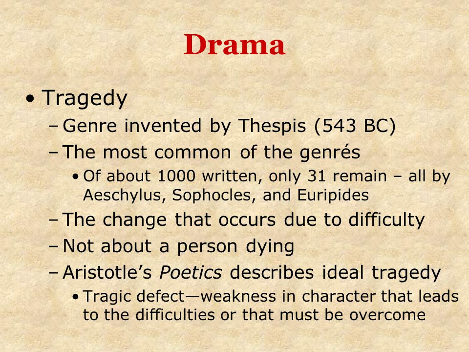 Drama Tragedy Genre invented by Thespis (543 BC)