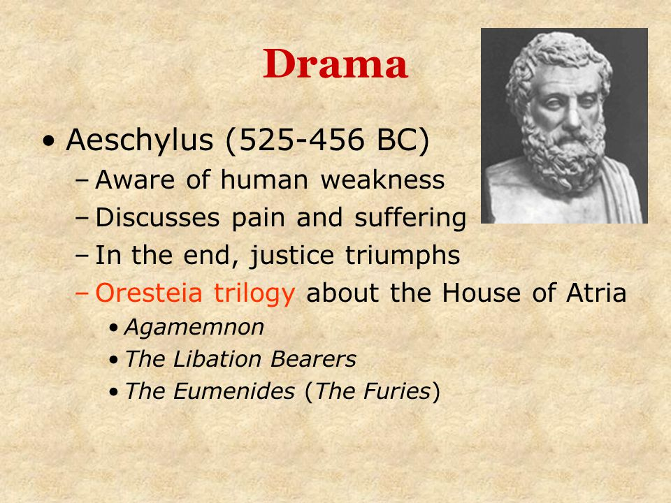 Drama Aeschylus (525-456 BC) Aware of human weakness