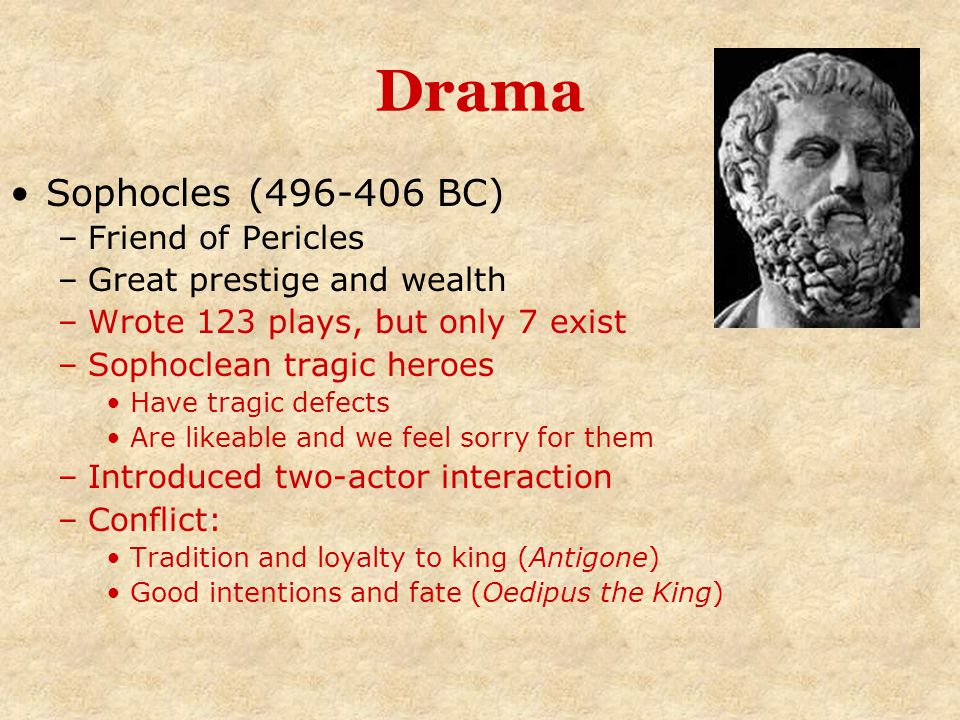 Drama Sophocles (496-406 BC) Friend of Pericles