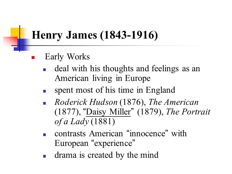 Henry James (1843-1916) Early Works
