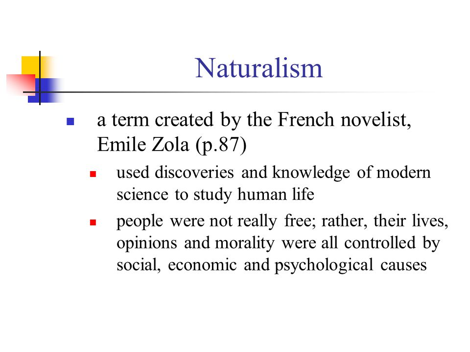 Naturalism a term created by the French novelist, Emile Zola (p.87)