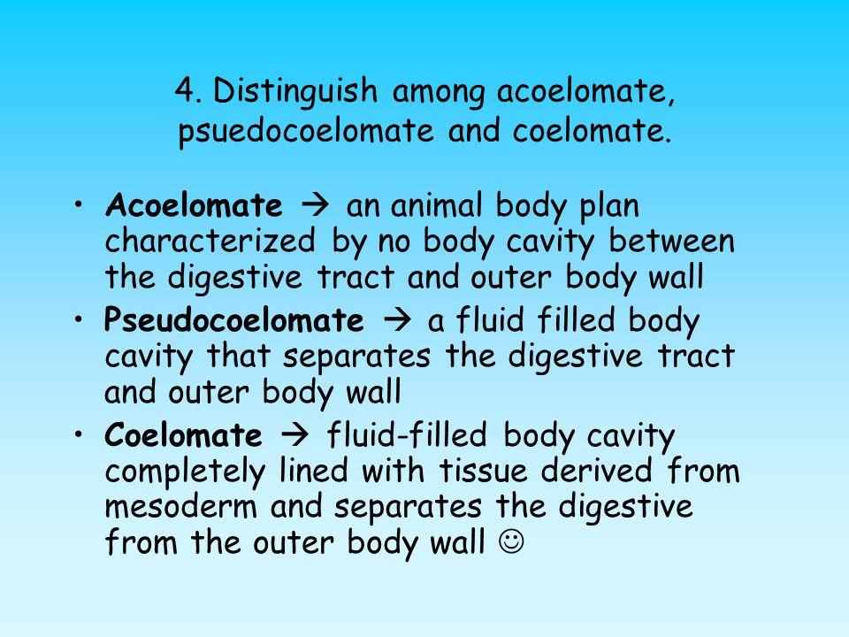 4. Distinguish among acoelomate, psuedocoelomate and coelomate.