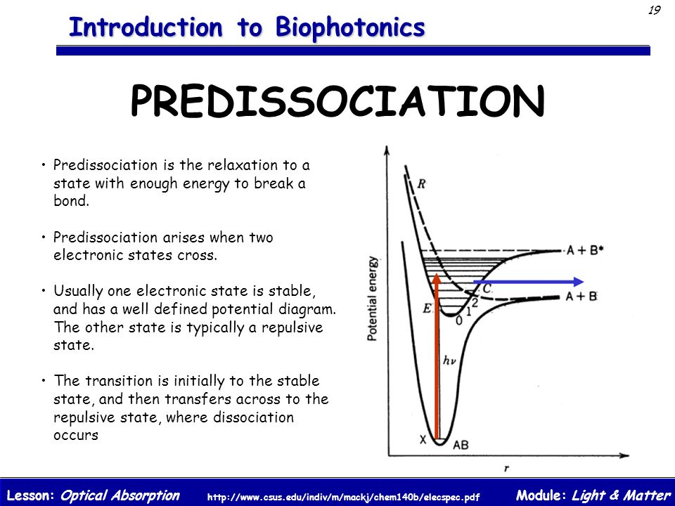 PREDISSOCIATION Predissociation is the relaxation to a state with enough energy to break a bond.