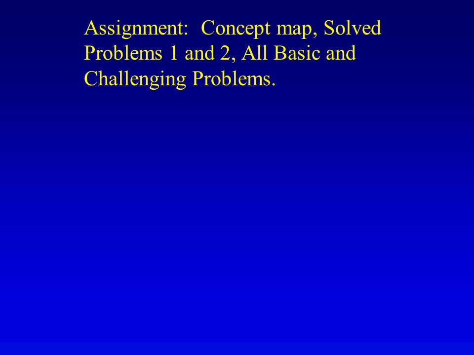 Assignment: Concept map, Solved Problems 1 and 2, All Basic and Challenging Problems.