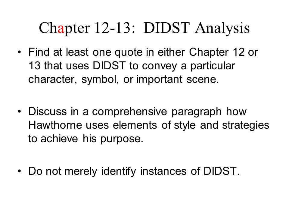 Chapter 12-13: DIDST Analysis