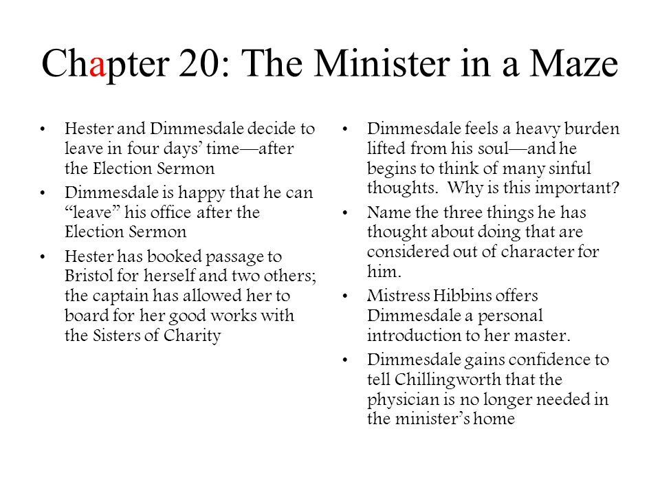 Chapter 20: The Minister in a Maze