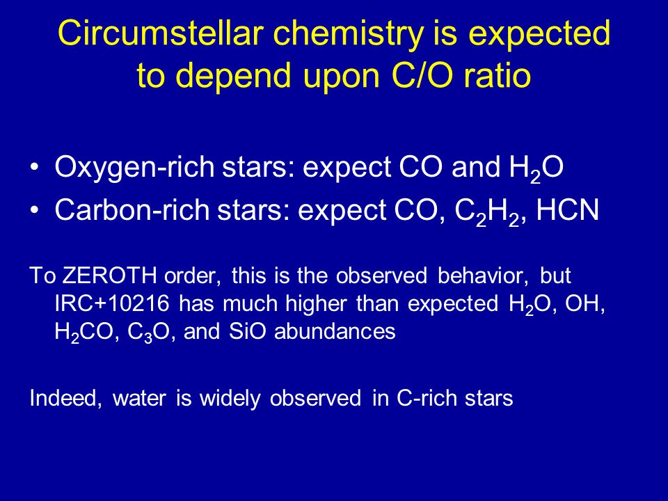 Circumstellar chemistry is expected to depend upon C/O ratio