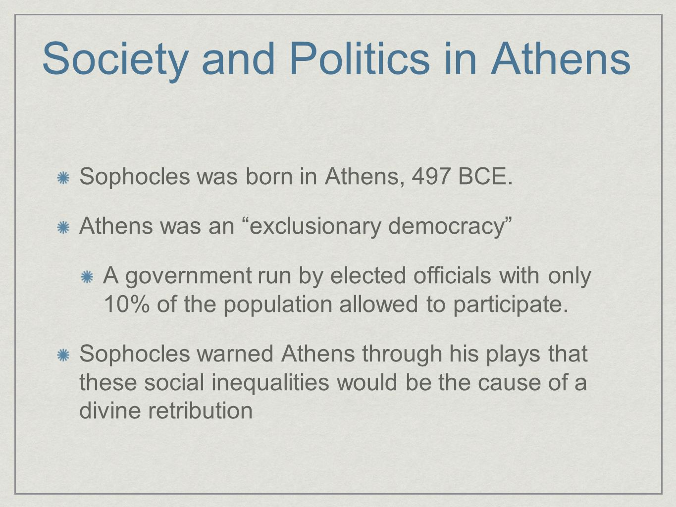 Society and Politics in Athens