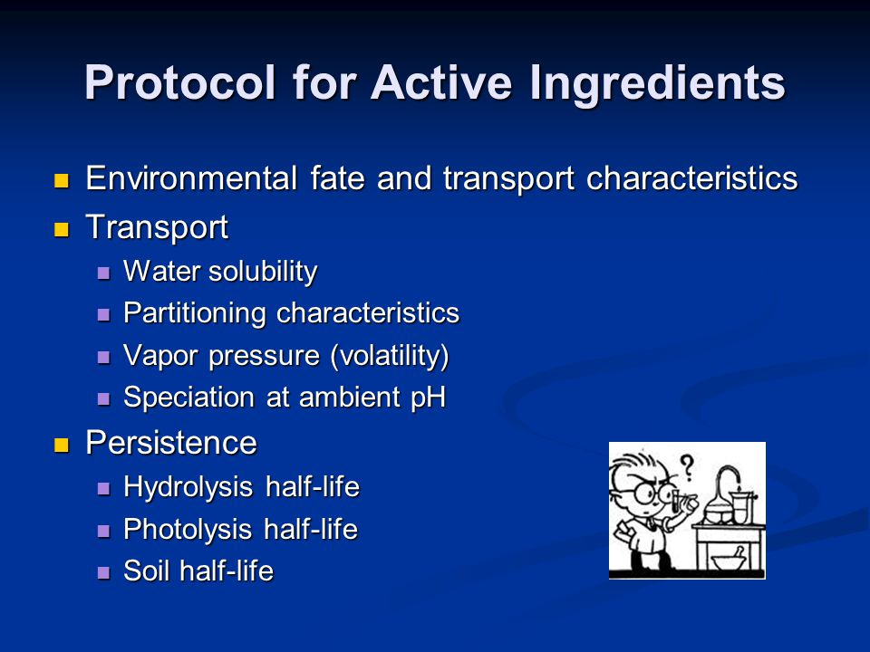 Protocol for Active Ingredients