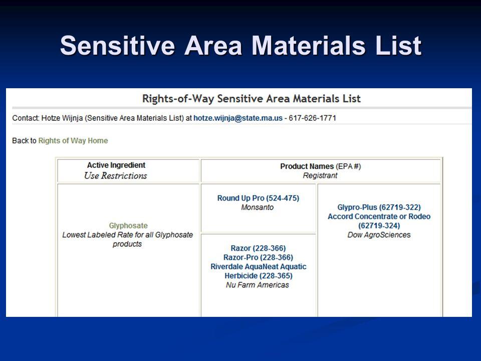 Sensitive Area Materials List