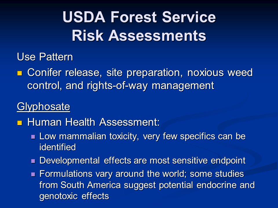 USDA Forest Service Risk Assessments