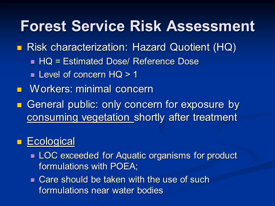 Forest Service Risk Assessment