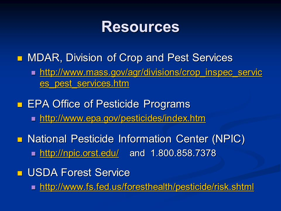 Resources MDAR, Division of Crop and Pest Services