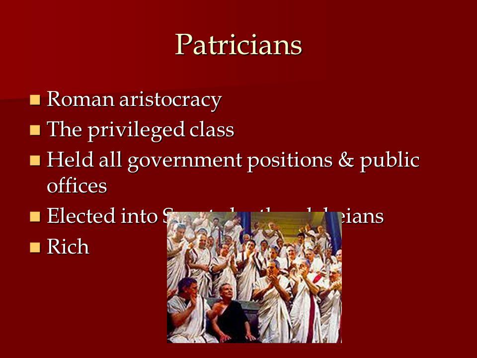 Patricians Roman aristocracy The privileged class