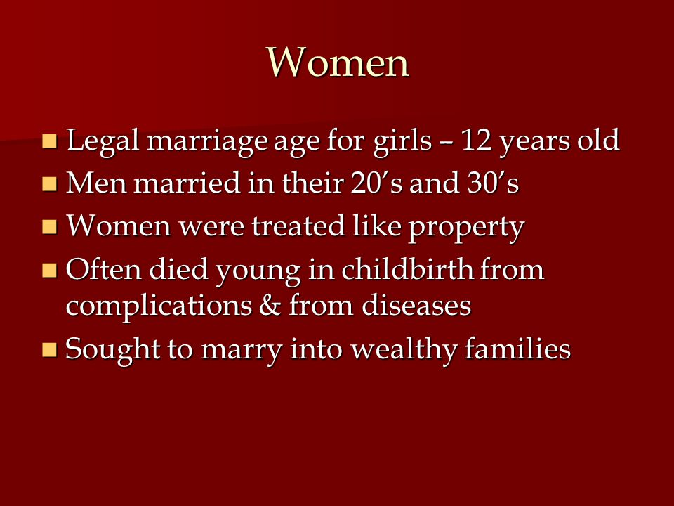 Women Legal marriage age for girls – 12 years old