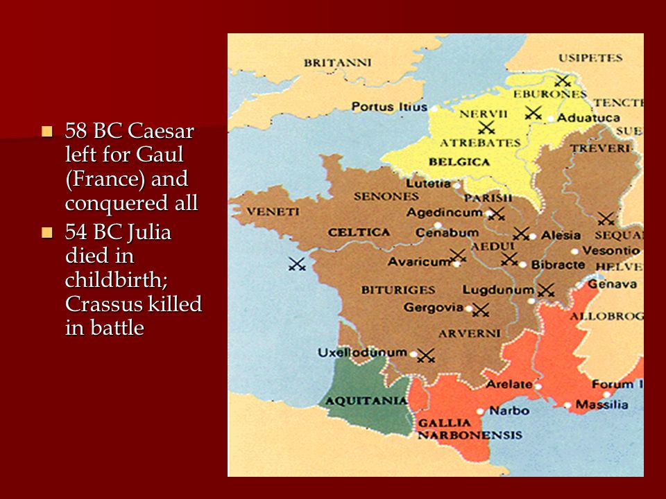 58 BC Caesar left for Gaul (France) and conquered all