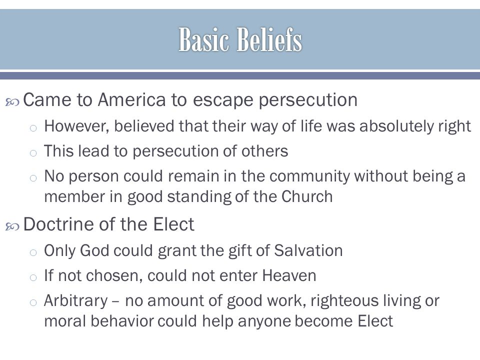 Basic Beliefs Came to America to escape persecution